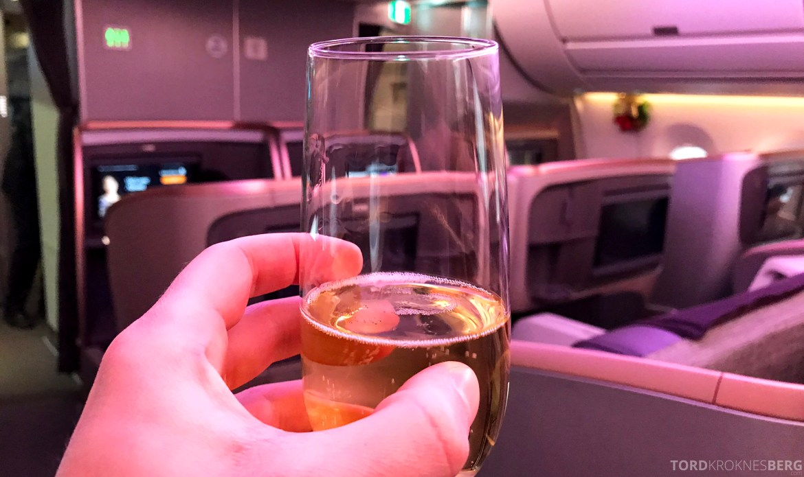 Singapore Airlines Business Class Amsterdam Singapore velkomstdrink