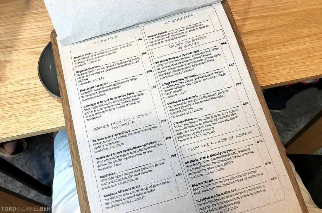 26 North Restaurant Gardermoen meny