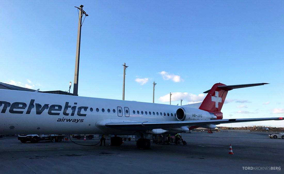 SWISS Economy Class Fokker 100 Kiev Oslo Helvetic