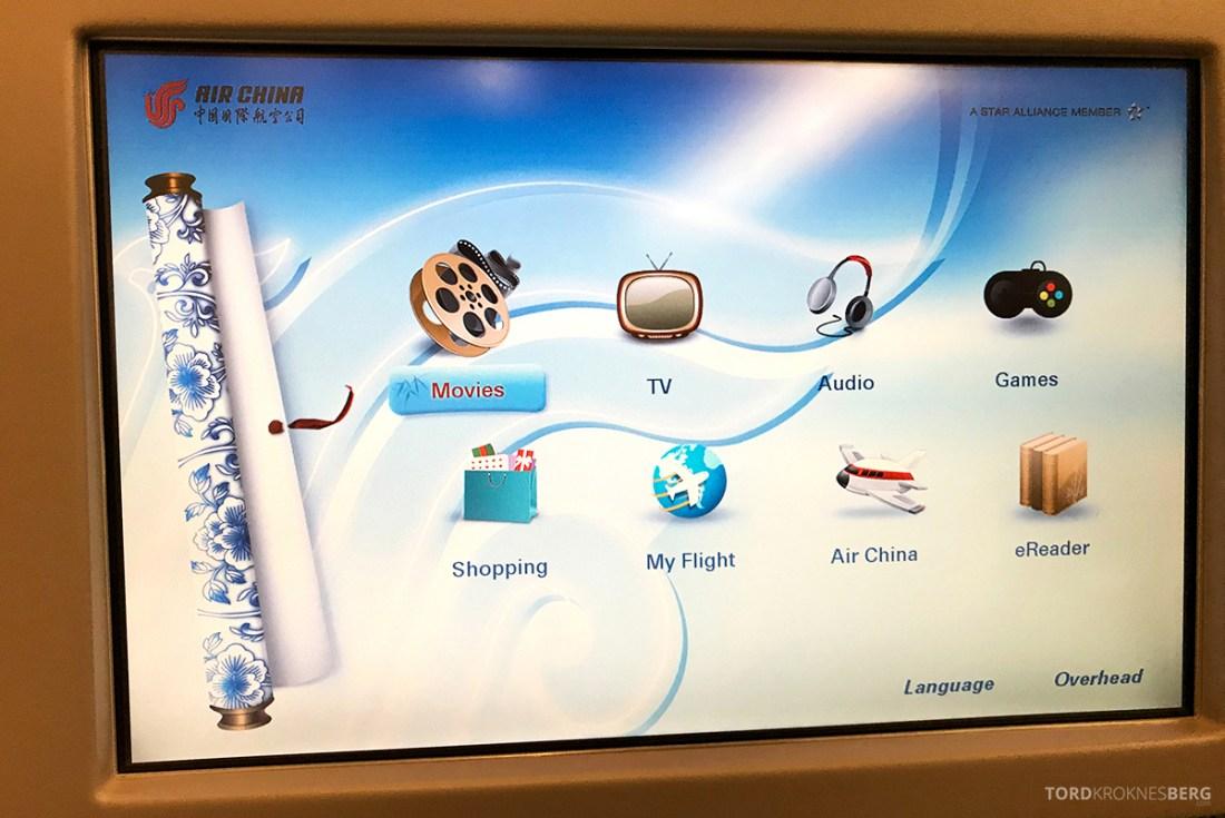 Air China Business Class Stockholm Beijing underholdningssystem
