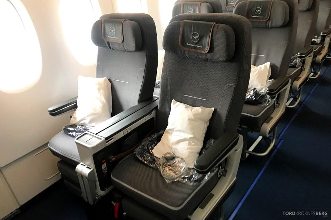 Lufthansa Premium Economy Los Angeles Oslo første rad