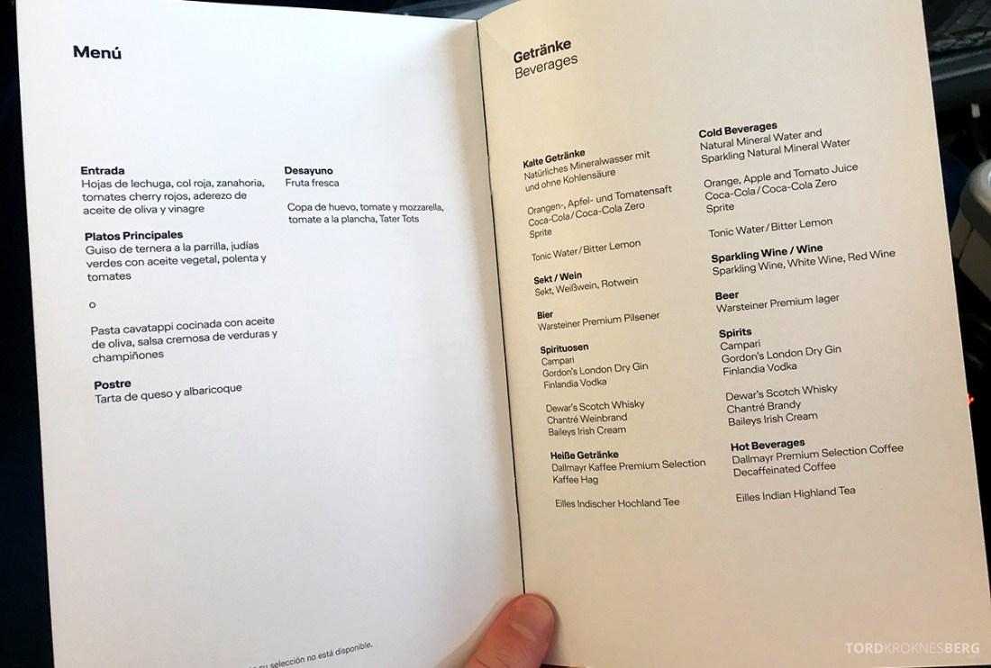 Lufthansa Premium Economy Los Angeles Oslo drikkemeny