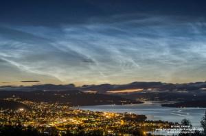 Nattlysende skyer (noctilucent clouds) over Gjøvik