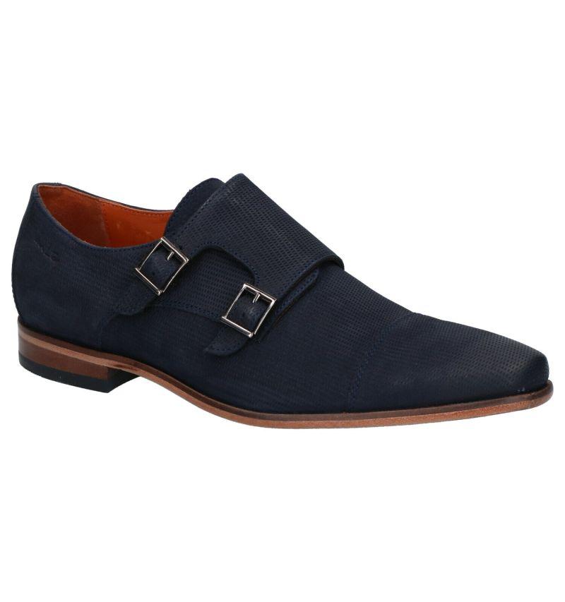 Van Lier Blauwe Schoenen met Gesp
