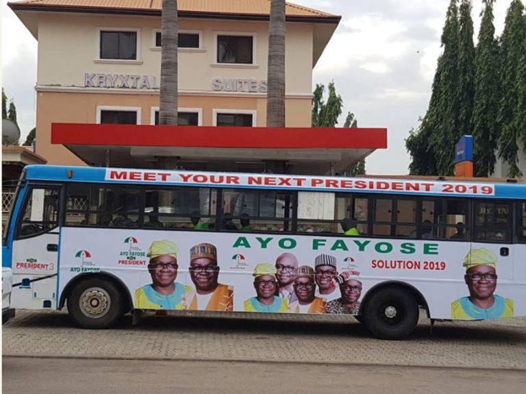 ffay2 - Ayo Fayose Presidential Campaign Buses Spotted In Abuja (Photos)