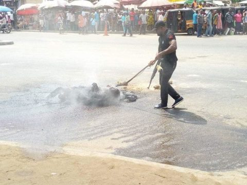 Graphic Photos Of Suspected Thief Burnt To Death After Trying To Steal Motorcycle