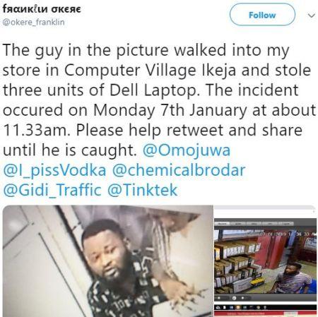 Man Caught On CCTV Stealing Dell Laptops Inside Computer Village, Lagos (Video) 2