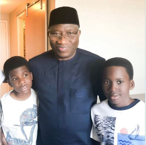Throwback Picture Of Goodluck Jonathan Posing With Reno Omokri's Twin Sons 1