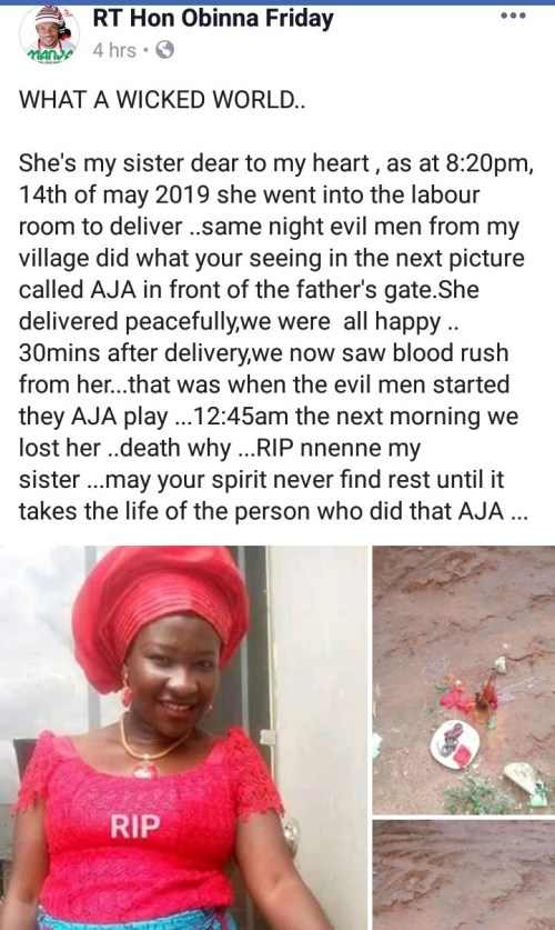 Woman Dies Minutes After Giving Birth Allegedly Because Of Fetish Item Placed In Her Father's Compound (Photo) 3