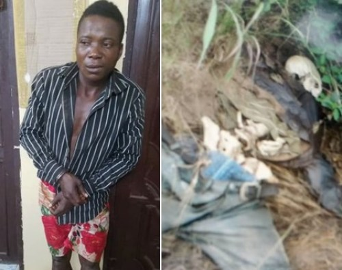 The suspected killer, Chizoba after he was caught