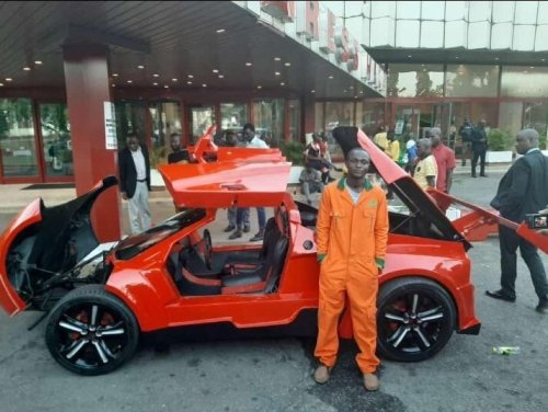 Jerry Isaac Mallo shows off his made in Nigeria car