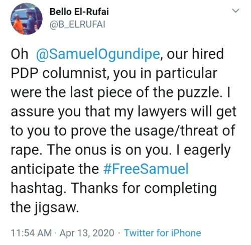 Rape Threat: Governor El-Rufai'S Son Threatens Journalist For Publishing Story
