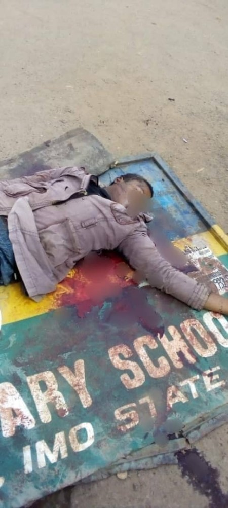 okada%20dead1 - Okada Rider Allegedly Shot Useless By Police Officer For Not Carrying A Face Masks In Imo (Graphic Pictures)
