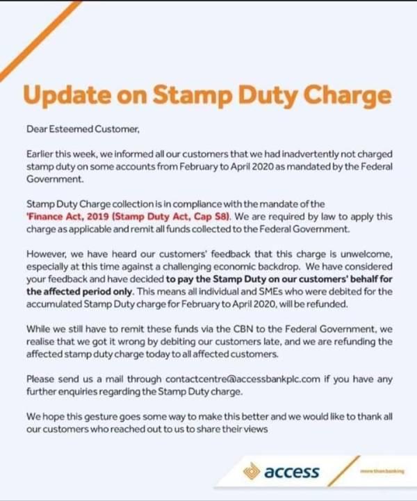accessbank stampduty - Entry Financial institution To Refund Stamp Responsibility Deductions