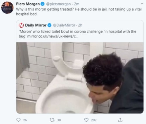 Man Who Filmed Himself Licking Toilet Bowl In 'Coronavirus Challenge' Is Now Sick With Deadly Disease (Photos)