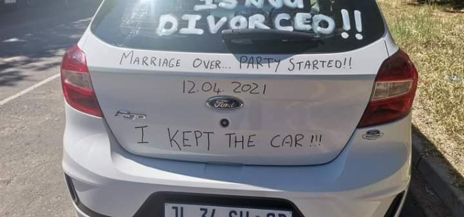 'Marriage Over, Party Started' – Man Defaces His Car As He Joyfully Announces His Divorce (Photos)
