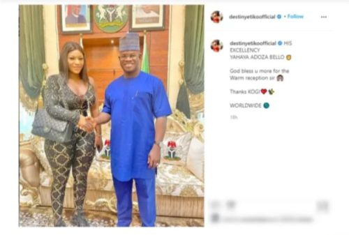 'You Went To Seduce Him' - Nigerians Drag Actress, Destiny Etiko Over Outfit She Wore To Pay Gov, Yahaya Bello A Visit