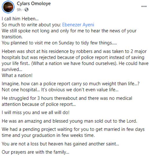 Ebenezer Ayeni death