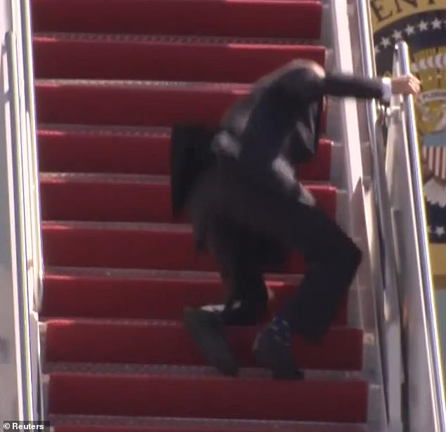 Joe Biden falls walking down stairs