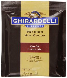 A hot cocoa mix packet. The flavor is double chocolate.