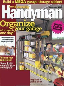 A cover of the Family Handyman magazine. A caption invites readers to organize their garages.