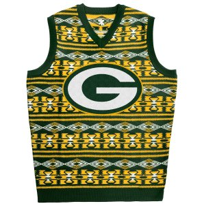 A shockingly ugly Green Bay Packers green and yellow sweater vest.
