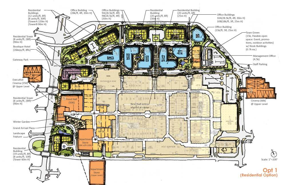 medium resolution of plan showing option one of the development proposal for yorkdale block showing retail hotel