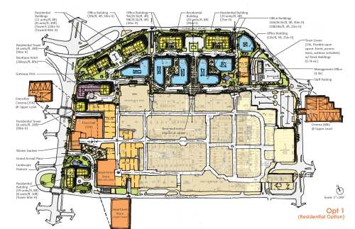 small resolution of plan showing option one of the development proposal for yorkdale block showing retail hotel