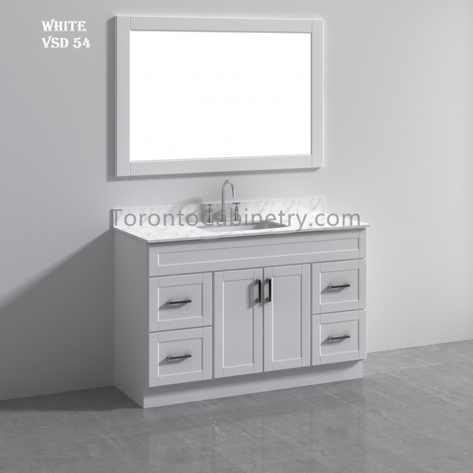 54 Single Shaker White Solid Wood Bathroom Vanity 54 Single Bathroom Vanities Vanity