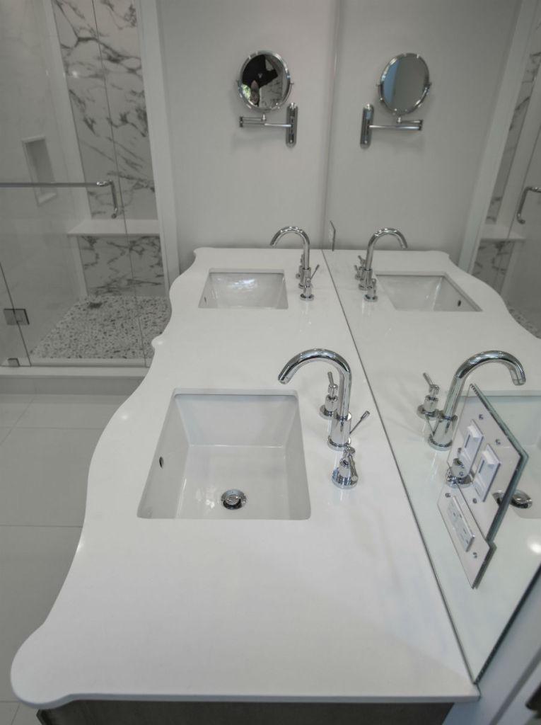Countertop White Quartz Toronto Custom Concepts Kitchens Bathrooms Wall Units Basements