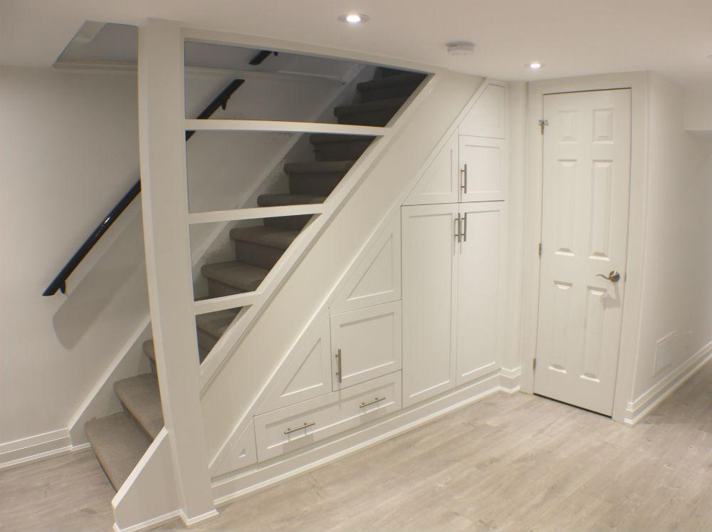 Toronto Basement Staircase Storage  Toronto Custom Concepts  Kitchens Bathrooms Wall Units