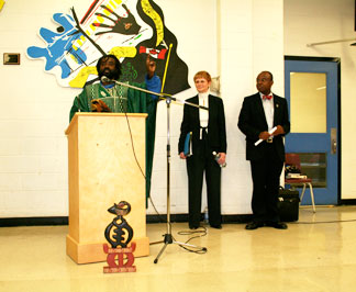 Kofi Sankofa, a supporter, spoke at one of the TDSB community consultation meetings
