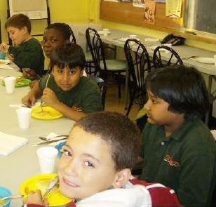 Students from St. Margaret's enjoy a healthy meal at the Storefront Breakfast Club.