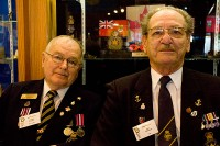 Tom Storey former signal corp, and Eric Pierson, former navy, Second World War veterans. (Amanda Ly/Toronto Observer)