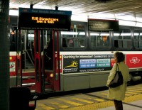 The TTC's Next Vehicle Arrival system pilot project has yet to be implemented on surface stops and routes other than the 510 Spadina and a few downtown subway stations. (Matthew Alleyne/Toronto Observer)