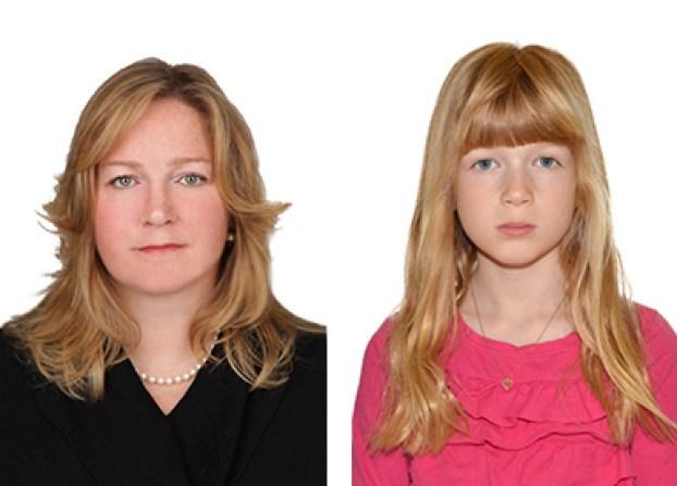 Passport photos of a women and girl
