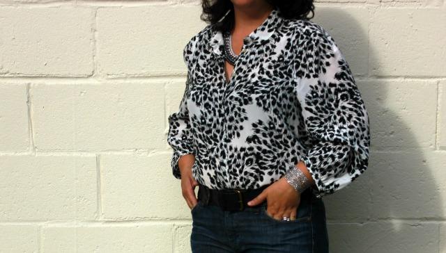 flared denim silk blouse