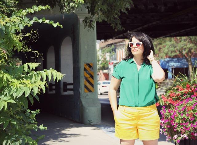 green silk blouse, joe fresh silk top, yellow shorts