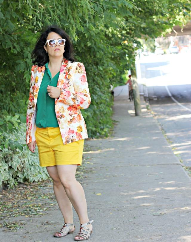 zara floral blazer, green silk shirt, joe fresh silk shirt, yellow shorts