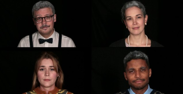 Four people, each in their own quadrant, looking straight at the camera against a black background. A young woman in the bottom left quadrant wears a striped cardigan, while the people in the other quadrant are in costumes and grey hair to make them appear older.