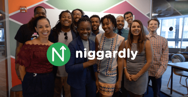 "The ""Niggardly"" logo in front of the full cast of eleven actors, standing in a modern office. All of the actors are dressed like they work at a startup."