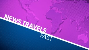 """A blue and purple graphic with a diagonal white line cutting through the middle. White text reads """"News Travels Fast"""" On the right side is a purple stylized design of earth."""