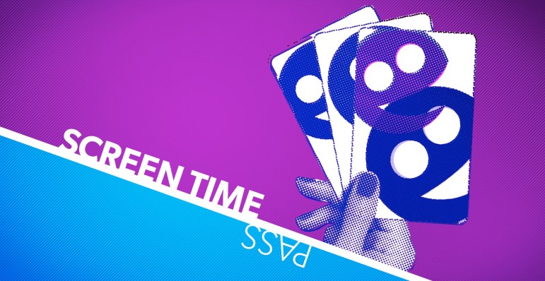 Image featuring the words Screen Time Pass and a stylized image of a hand holding three TOsketchfest branded passes.
