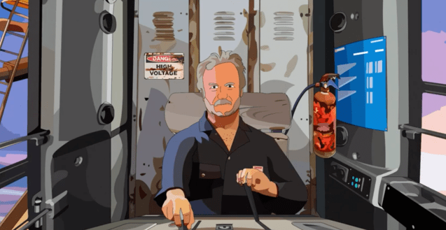 An animation of a male crane operator, in the cab of the crane, pulling levers.