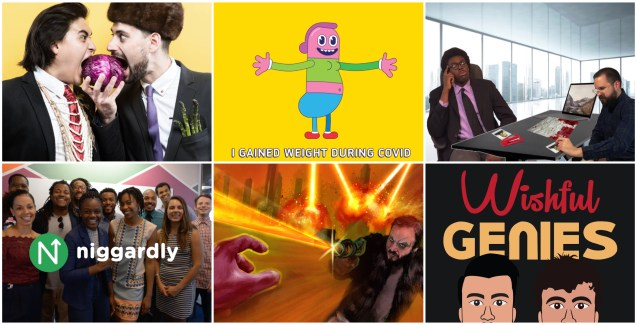 A photo grid featuring the six nominees for Outstanding Comedy Short. Top three: Folk Lordz, Drawn Up Comedy, and Connor Ferrara & Tim Blair. Bottom Three: Dejen Tesfagiorgis, Fog and Lasers, and Wishful Genies.