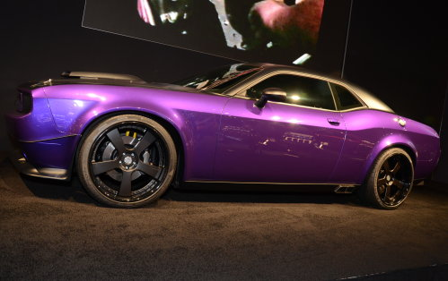 A side view of Jeff Dunhams Project UltraViolet Dodge