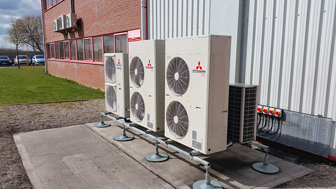 Air conditioning condenser units installed by Torr Engineering at Bring Cargo Stallingborough