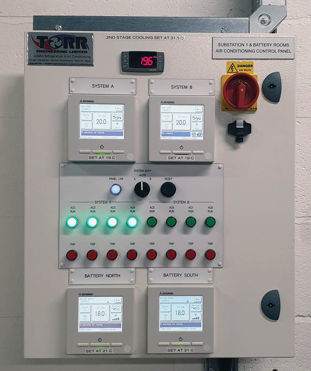 Air conditioning change over control panel in the electrical substation at VPI Immingham.