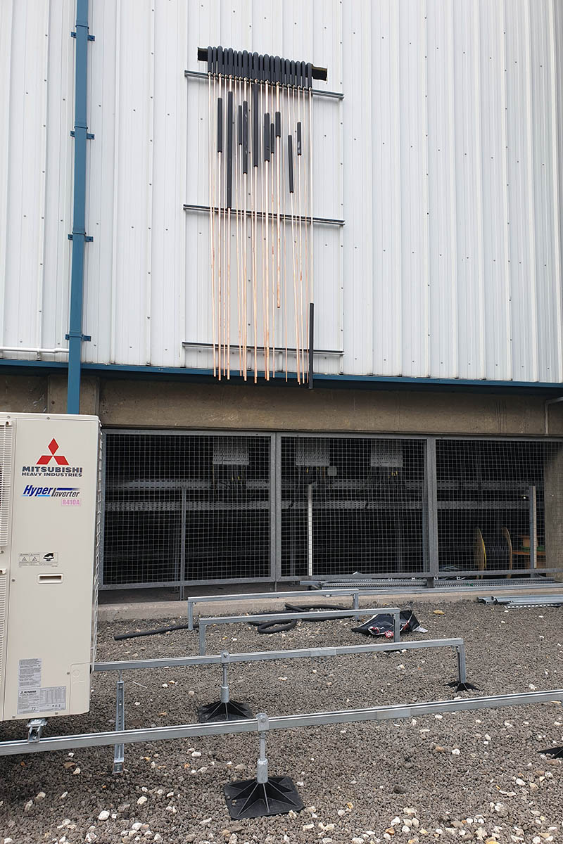 Air conditioning pipe work & services are turned through the penetration to outside the VPI substation.