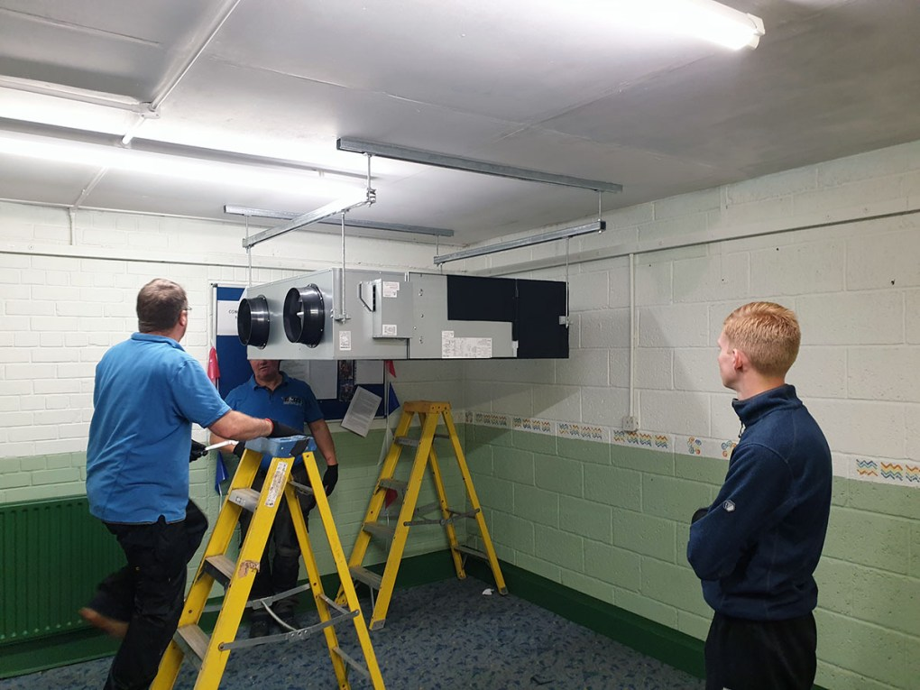 The ventilation unit is test fitted
